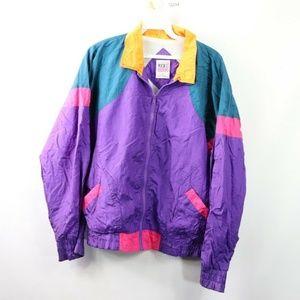 Vintage Abstract Geometric Full Zip Jacket Womens